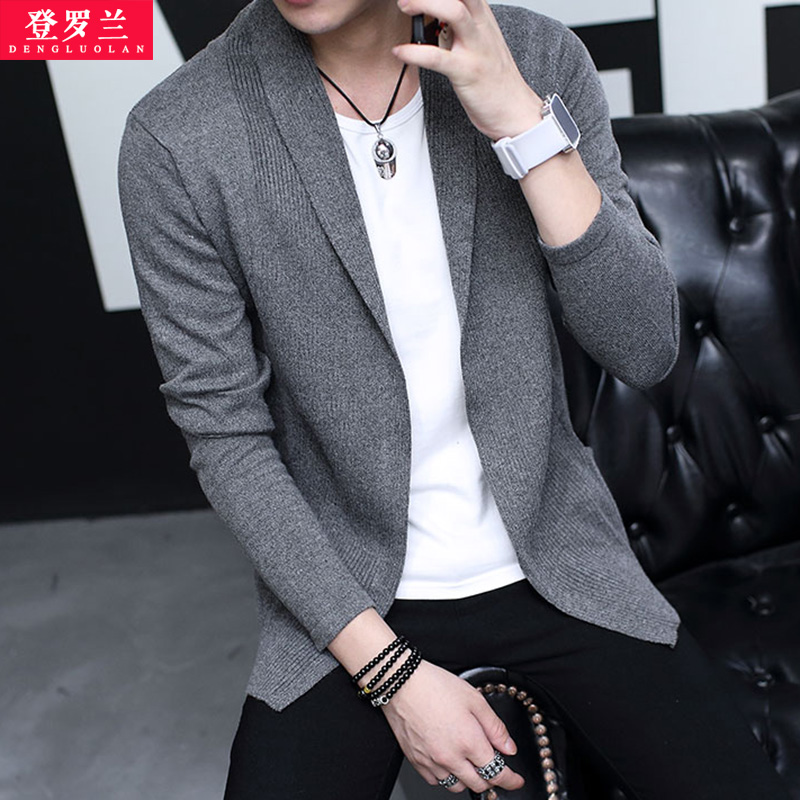 2016 autumn new men's sweater korean version of the spring and autumn sweater coat male students slim solid color casual sweater tide