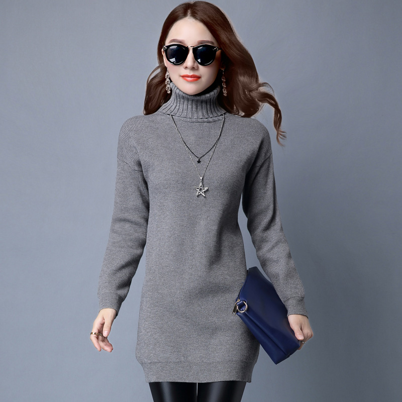 2016 autumn sweater bottoming shirt female long sleeve sweater korean version dongkuan loose sweater dress with high collar and long sections