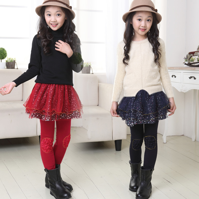 2016 dongkuan children wear and medium-sized children's clothing boy boy plus thick velvet culottes girls leggings bottoming skirts fake two