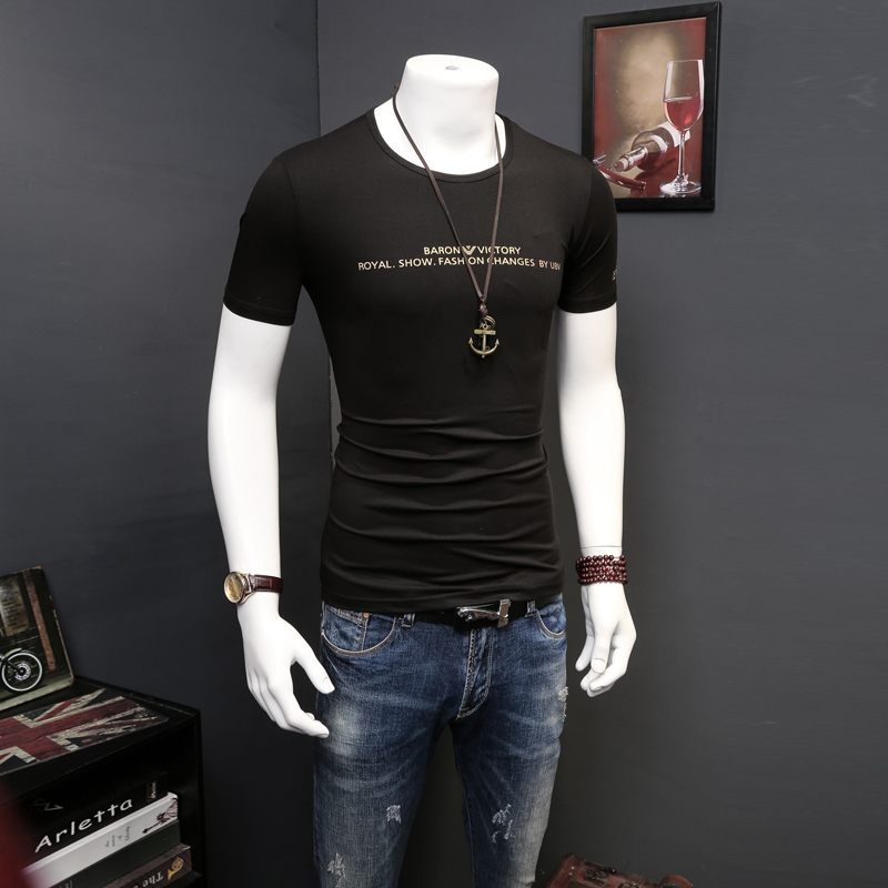 2016 european grand prix mercerized cotton men's short sleeve t-shirt modal tight round neck short sleeve compassionate slim influx of men