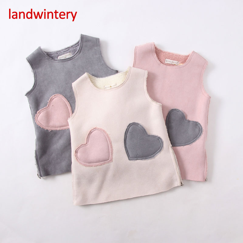 2016 fall and winter clothes baby clothing children girls in children love pocket vest skirt dress