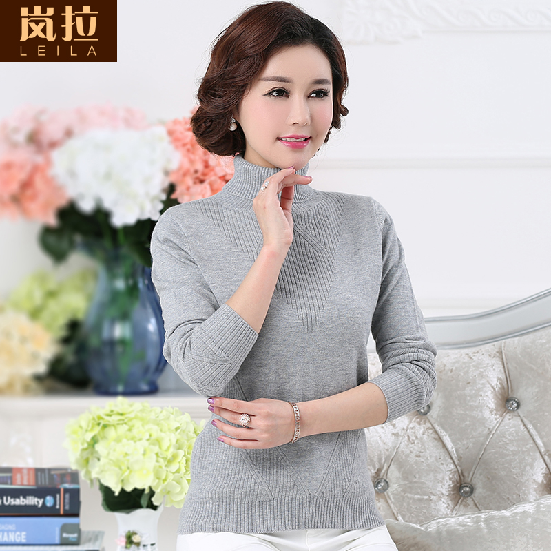 2016 fall and winter clothes new 100% pure wool sweater with high collar cultivating wild solid color sweater women's sweater bottoming