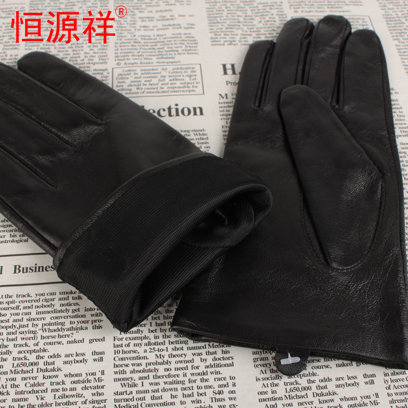 2016 full touch screen gloves ms. heng yuan xiang genuine new winter fashion warm sheepskin gloves points finger