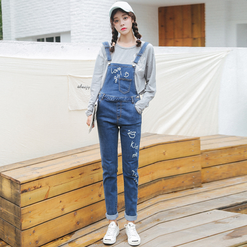 2016 hitz adolescent adolescent girls junior high school students stretch printing slim denim overalls siamese trousers