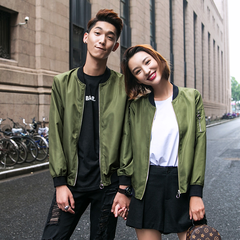 2016 hitz korean version of slim ting sleeve army green couple models bf wind jacket for men and women baseball jacket Female