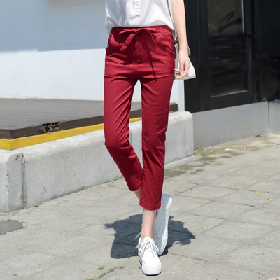 2016 korean version of casual cotton casual pants pantyhose feet was thin loose harem pants literary lace summer students