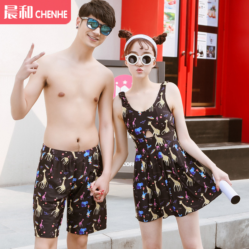 2016 korean version of the couple female swimsuit small chest big chest gather skirt was thin piece swimsuit spa beach resort