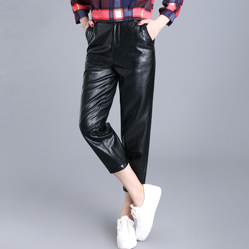 2016 korean version of the fall and winter pu leather pants female outer wear leather pants feet high waist trousers tight thin section bottoming pants big yards