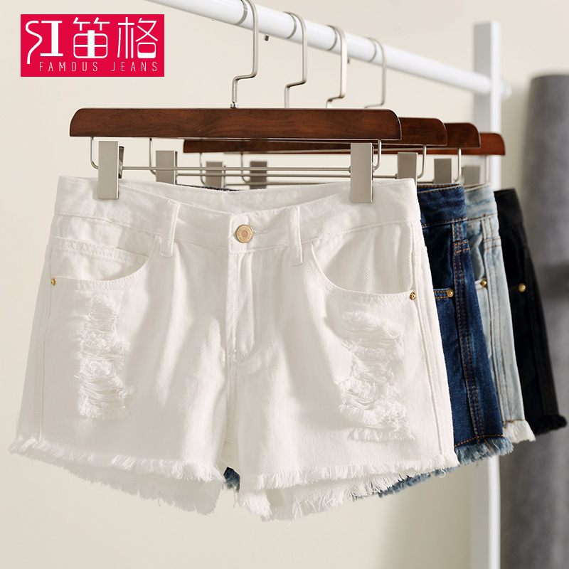 2016 korean version of the hole high waist denim shorts female summer shorts in black and white students burr shorts slim shorts