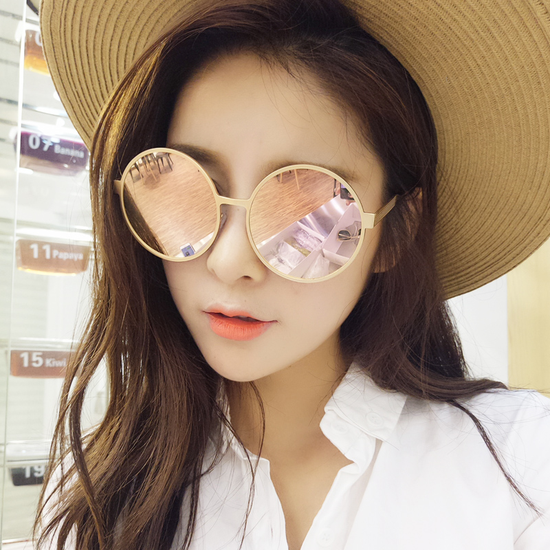 2016 korean version of the new retro great circle frame sunglasses reflective sunglasses female influx of female long face big box sunglasses Female
