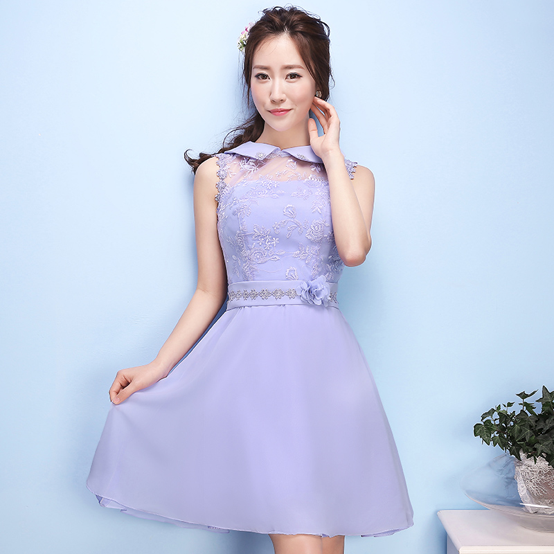 2016 korean version of the new summer bridesmaid dress short paragraph purple bridesmaid dresses sister group bridesmaid dress was thin dress graduation
