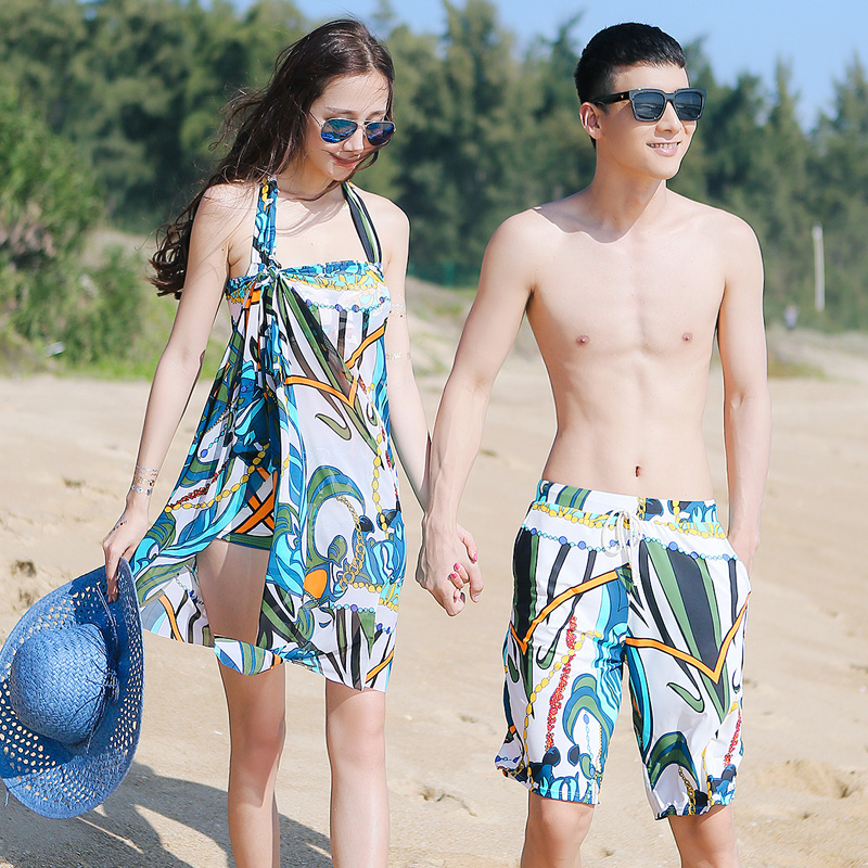 2016 korean version of the romantic couple models hottinger bikini swimsuit female three sets of male beach pants fashion sweet
