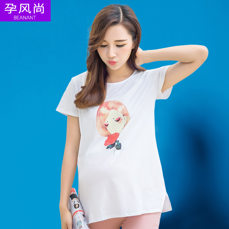 2016 maternity summer korean version of the cartoon short sleeve t-shirts for pregnant women pregnant women pregnant shirt printing loose