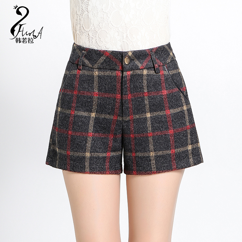 2016 new autumn and winter high waist woolen shorts female was thin outer wear big yards loose plaid leisure wide leg pants boots