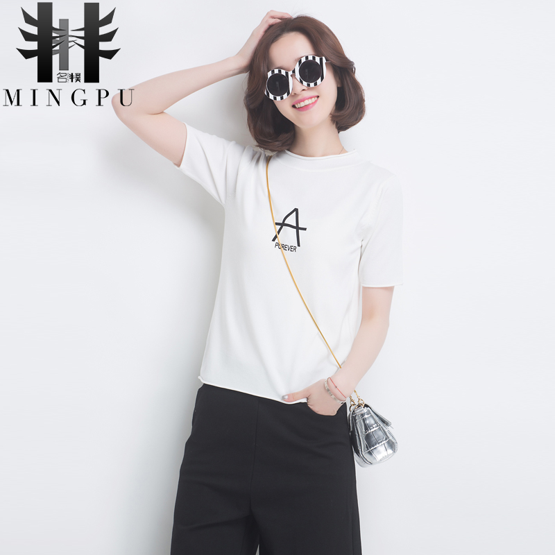 2016 new autumn and winter short sleeve knit t-shirt female korean version of a short section hedging letter sweater female backing shirt women
