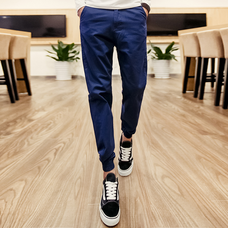 2016 new autumn lin curved tide brand casual pants casual trousers feet korean slim was thin solid hundred ride