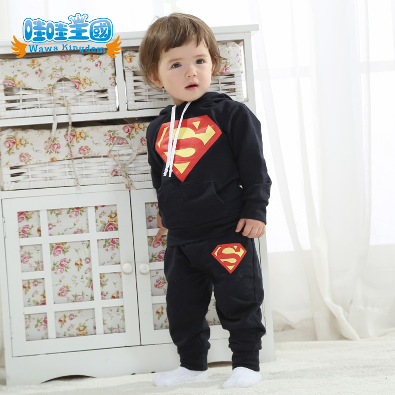 2016 new children's clothing spring and autumn superman spring infants and children korean female baby boy baby clothes children sports suit