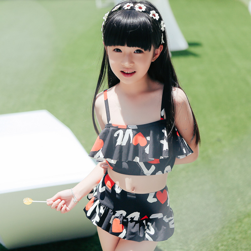 2016 new children's cute korean version of the flying edge printing sweet swimsuit female swimsuit girls split skirt style comfort