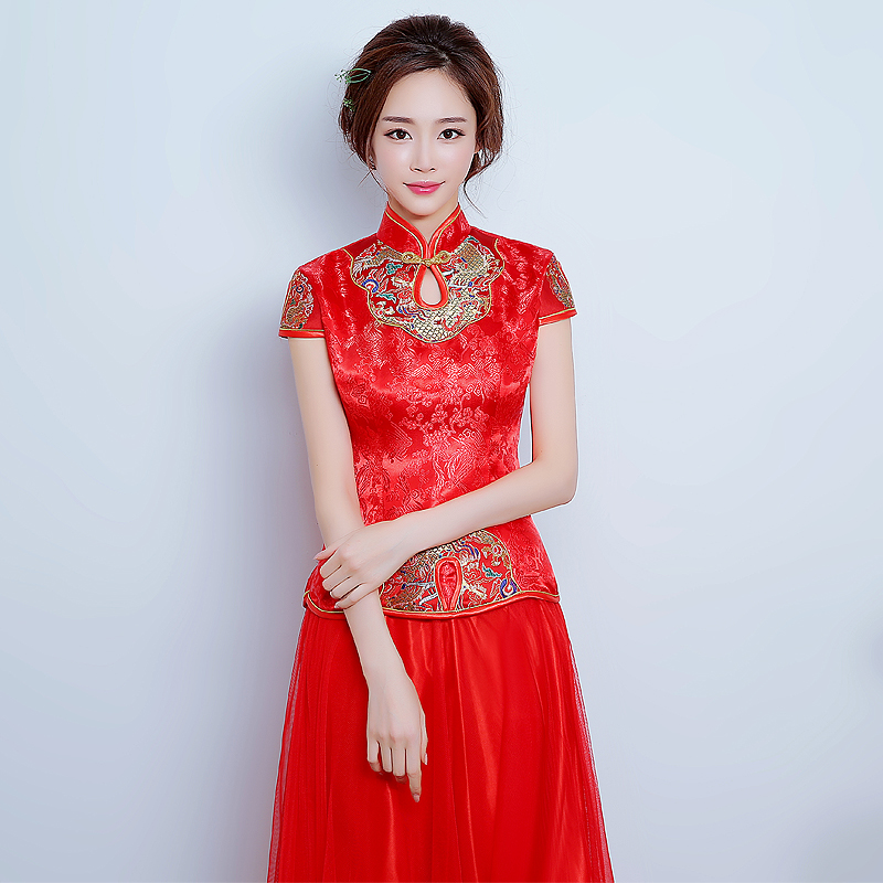 2016 new chinese wedding dress the bride wedding toast clothing cheongsam dress slim retro cheongsam improved cheongsam dress long section