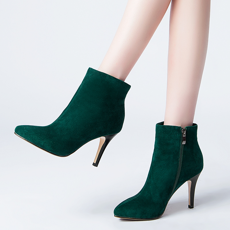 41f71f32f21 Get Quotations · 2016 new fall matte leather sheepskin heeled boots female boots  fine with pointed boots and ankle