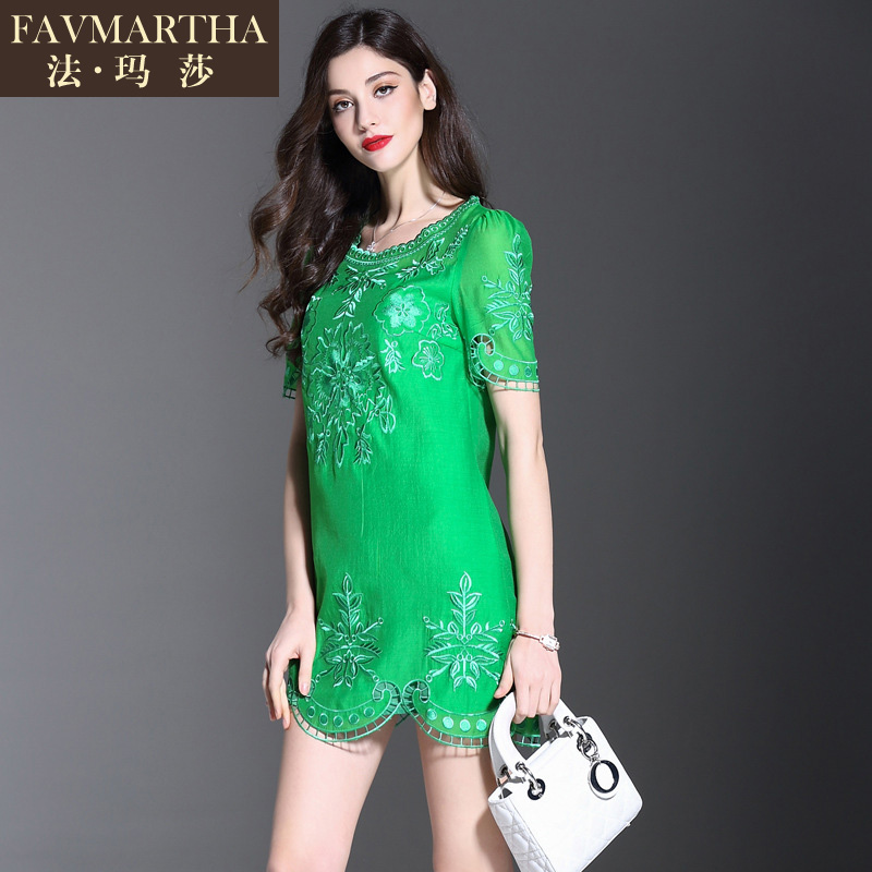 2016 new fashion brandæ³çèladieswear summer openwork embroidery short sleeve dress short paragraph