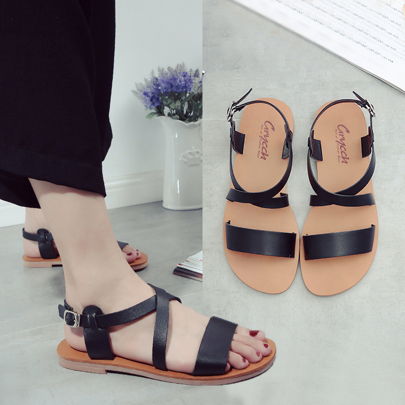 ce7e8a6c37b095 Get Quotations · 2016 new female summer flat sandals with open toe flat  shoes wild korean version of casual