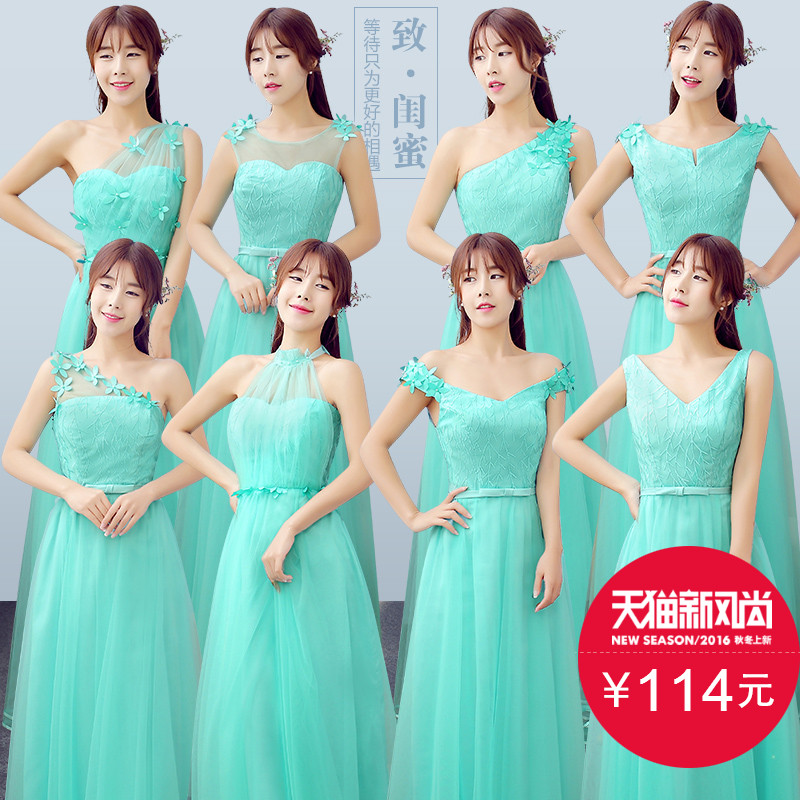 2016 new green bridesmaid dress long section of the word shoulder bridesmaid dresses sister group bridesmaid dress banquet evening dress slim