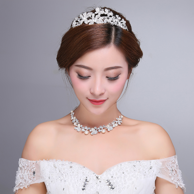 2016 new korean diamond crystal diamond crown tiara wedding bridal jewelry korean fashion sweet hair accessories