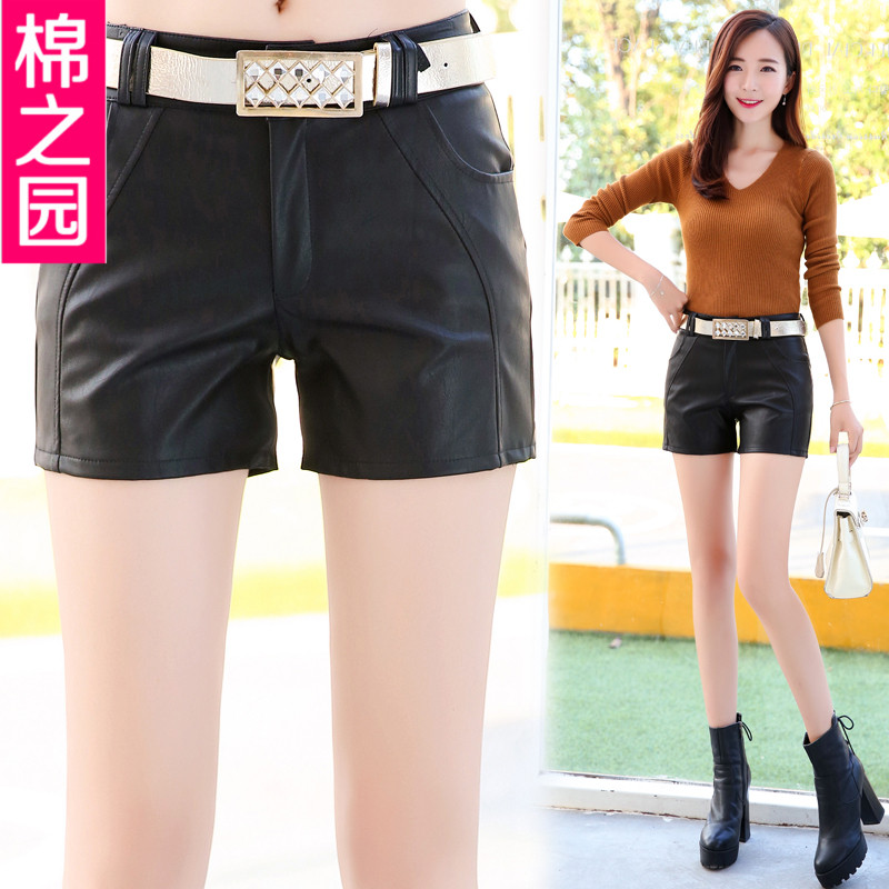 2016 new korean version of pu leather shorts leather pants boots pants were thin outer wear female korean version of the fall and winter to send back with wild leather pants female Influx of men