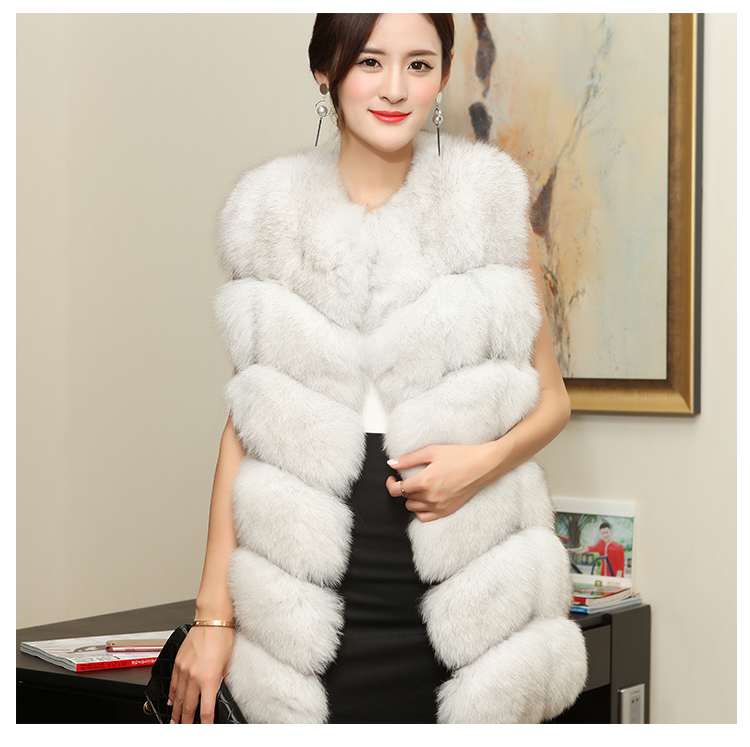 2016 new korean version was thin significantly higher in autumn and winter authentic pure fox fur vest vest and long sections
