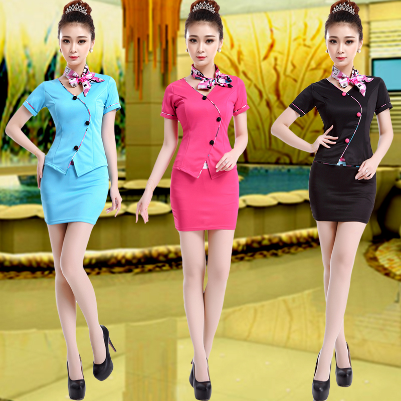2016 new ktv nightclub stewardess uniforms hotel nightclub dress princess hotel sauna technician work clothing
