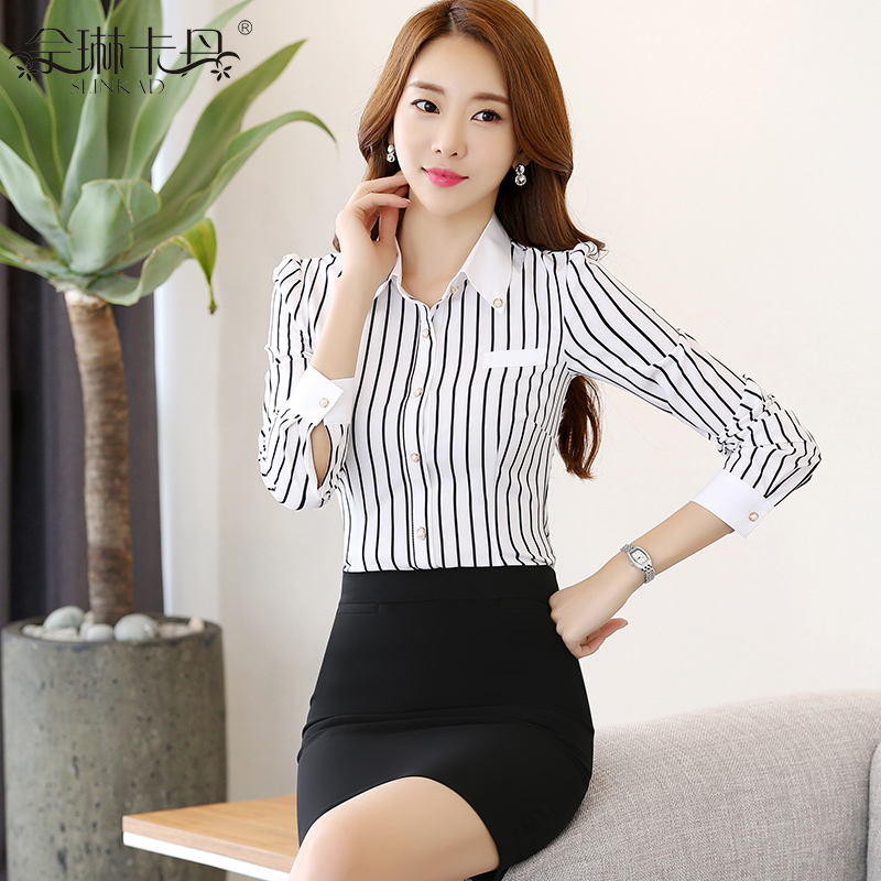 2016 new long black and white striped shirt slim suit chaps korean professional work shirt dress women