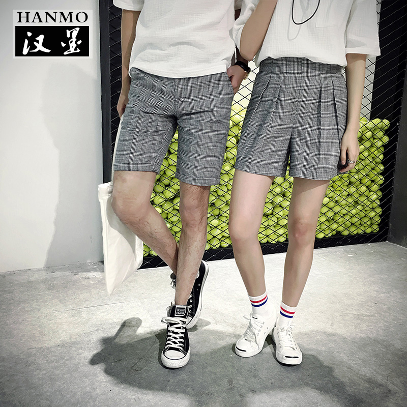 2016 new lovers summer shorts for men and women japanese harajuku style plaid pants five pants in summer lovers