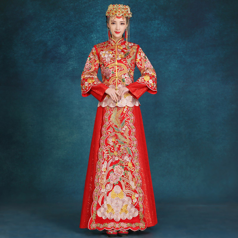 2016 new men's vintage clothing xiu chinese dragon and phoenix gown wedding dress bride wedding toast cheongsam dress costume costumes