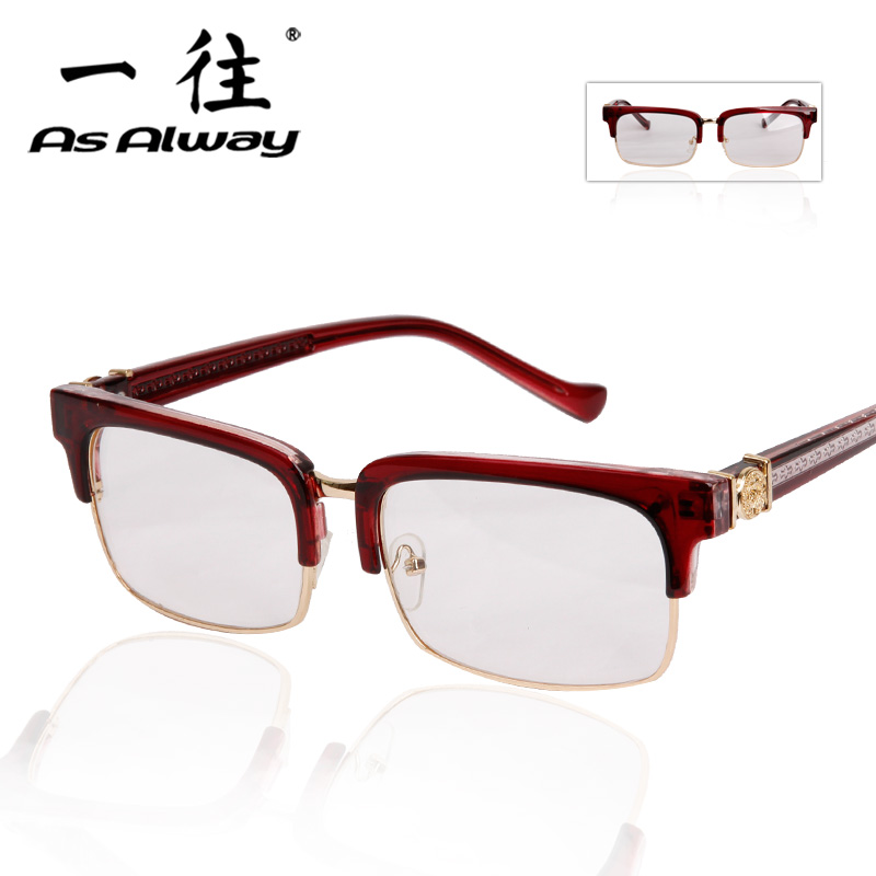 2016 new metal half frame glasses frame glasses box retro eye glasses frame plain glass spectacles frame plate brow line