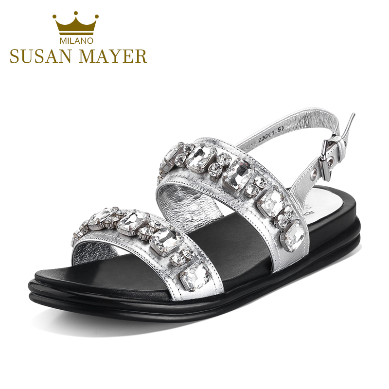 7ed0e3e656ae Get Quotations · 2016 new metal toe rhinestone leather casual shoes silver  leather sandals female summer flat shoes wild
