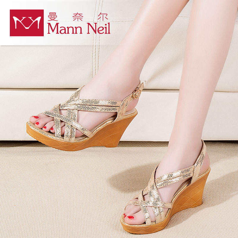 ce5b850348 Get Quotations · 2016 new plastic wedge sandals female summer influx of  wild leather open toe shoes roman word