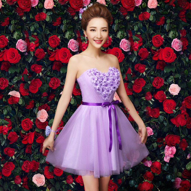 2016 new purple bridesmaid dress bridesmaid dress short paragraph sisters dress bridesmaid dress bridesmaid dress wedding dress bra spring and summer