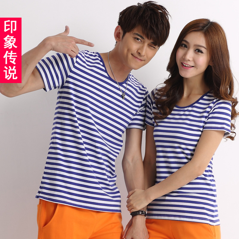 2016 new qlz lovers summer navy wind sea striped shirt striped t-shirt female big yards tide men short sleeve t-shirt