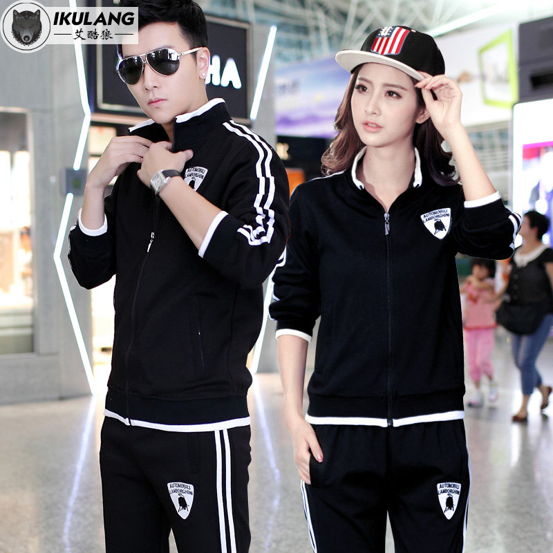 2016 new spring and autumn lovers male sports and leisure suits long sleeve slim korean version of the female cardigan sportswear
