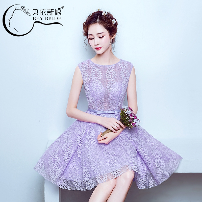 2016 new spring and summer bridesmaid dresses sister group bridesmaid dress purple bridesmaid dress short paragraph korean version of slim banquet evening dress