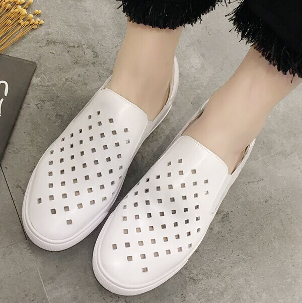 2016 new spring and summer hollow carrefour shoes women shoes set foot thick crust leather casual shoes women shoes white sports shoes tide shoes