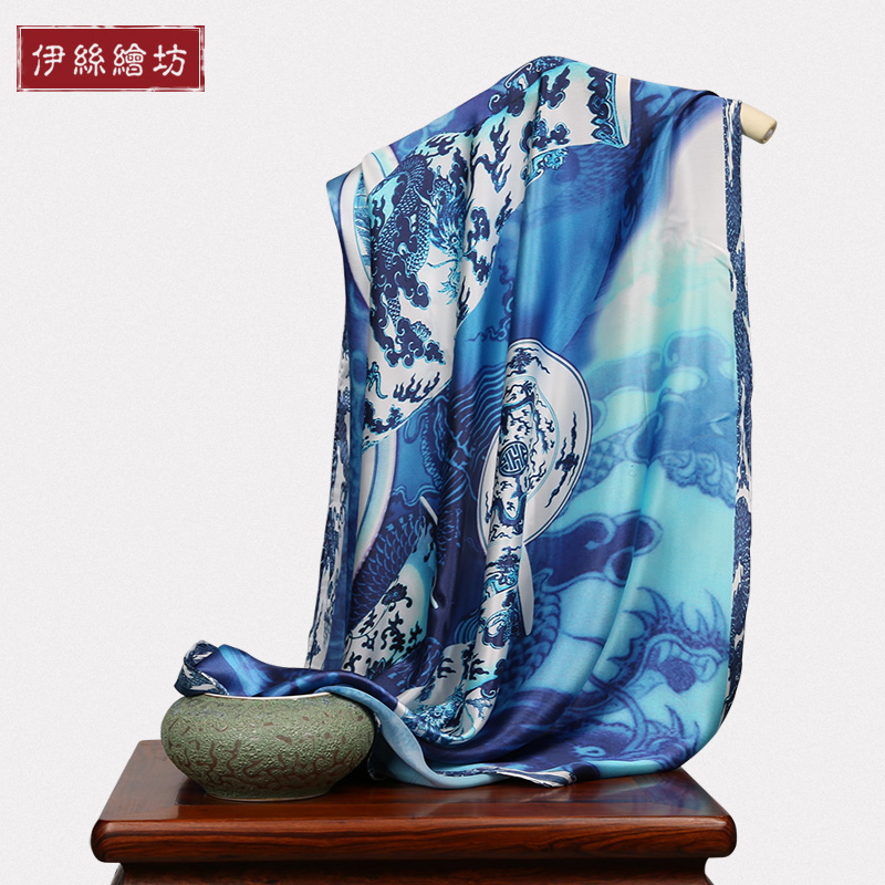 2016 new spring and summer silk scarf large square silk satin scarf silk scarf female blue and white porcelain gift box