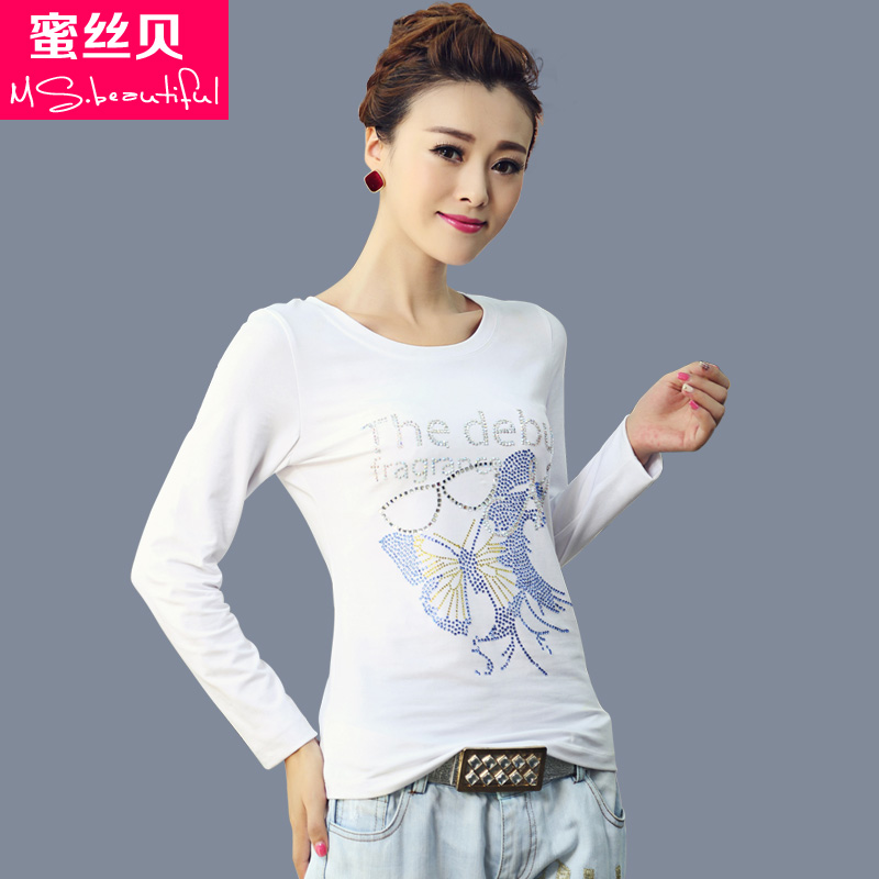 2016 new spring was thin long sleeve t-shirt korean version of large size women's cotton hot drilling repair body bottoming shirt compassionate woman