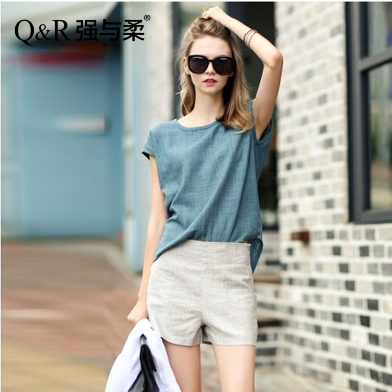 2016 new summer women's fashion suit european and american big yards ms. loose t-shirt was thin piece