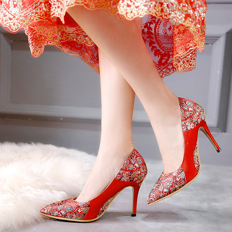 2016 new temperament classical temperament pointed shoes with high heels red wedding shoes wedding shoes spring shoes