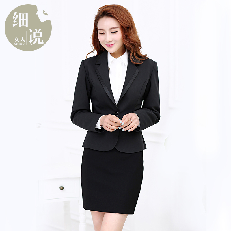2016 new temperament ol interview suits women career suits long sleeve three sets of white collar suit skirt suit overalls