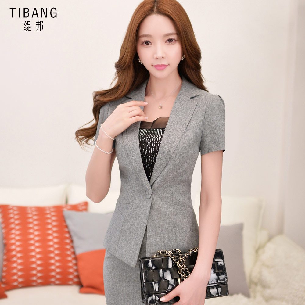2016 new temperament slim short sleeve career skirt suit korean professional women wear western dress suit tooling women