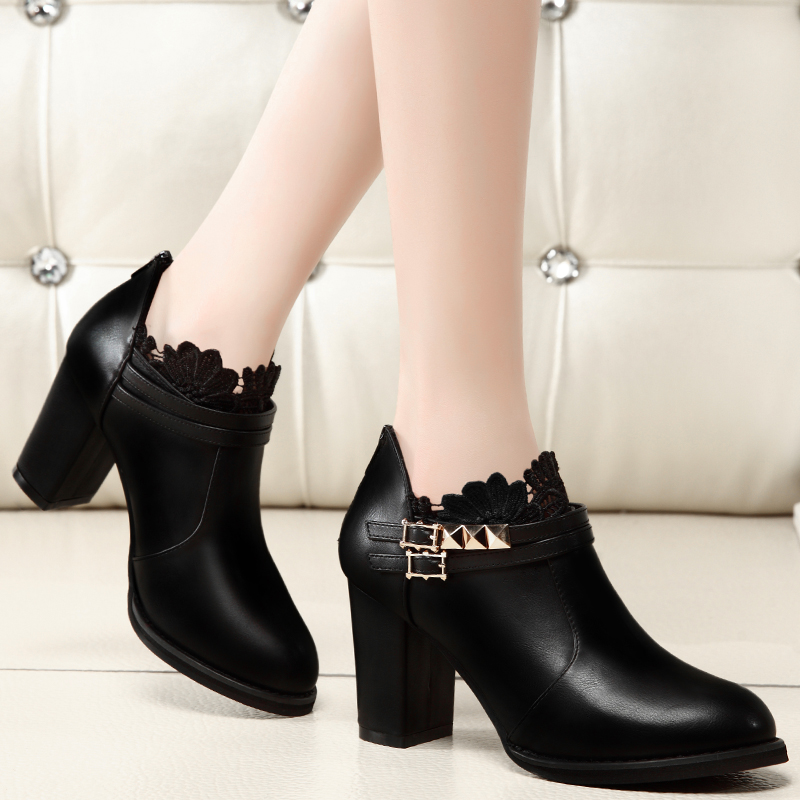 2016 new thick with shoes women shoes autumn shoes women fashion sexy lace black high with shoes women shoes fall