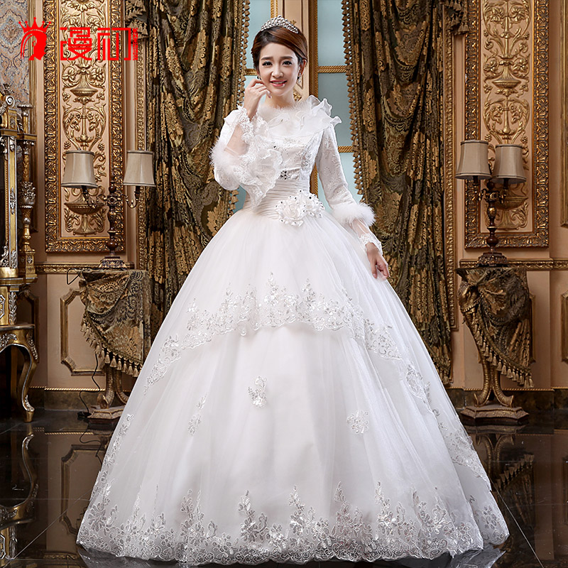 2016 new wedding dress korean bride wedding dress long sleeve thick winter wedding winter wedding dresses